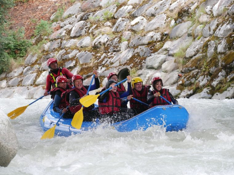 White water rafting on the Arve river Chamonix France