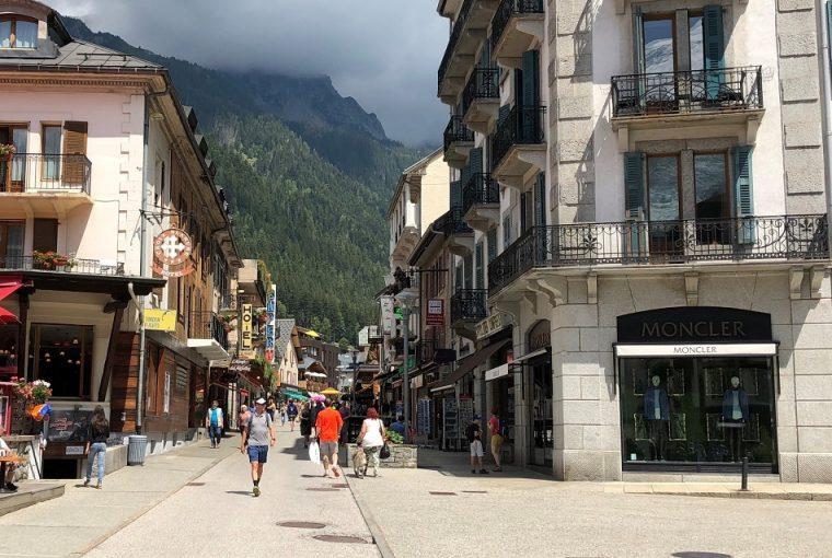 Town centre Chamonix Mont Blanc France
