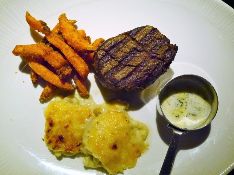 Small fillet steak with sweet potato fries and Millionaire's mac and cheese Heliot steak House London
