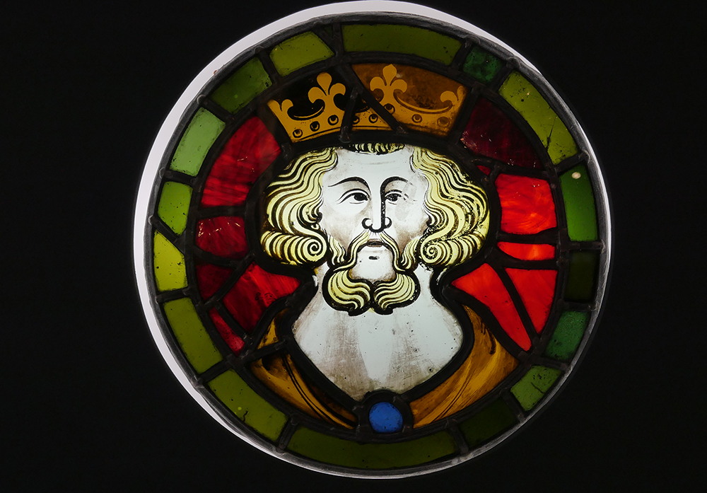King - 13th Century Stained Glass Window Yorkshire Museum