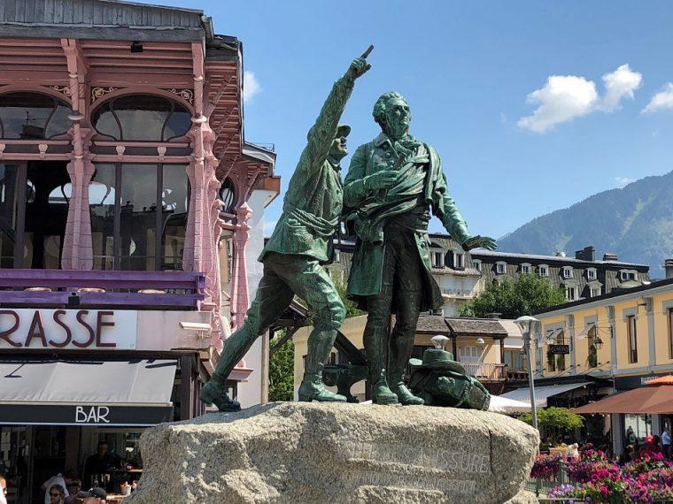 Statue Balmat and Saussure Chamonix Mont Blanc France