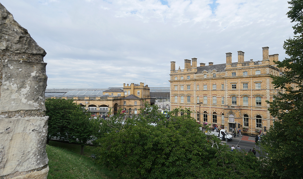 York Station and Principal Hotel from the City Walls
