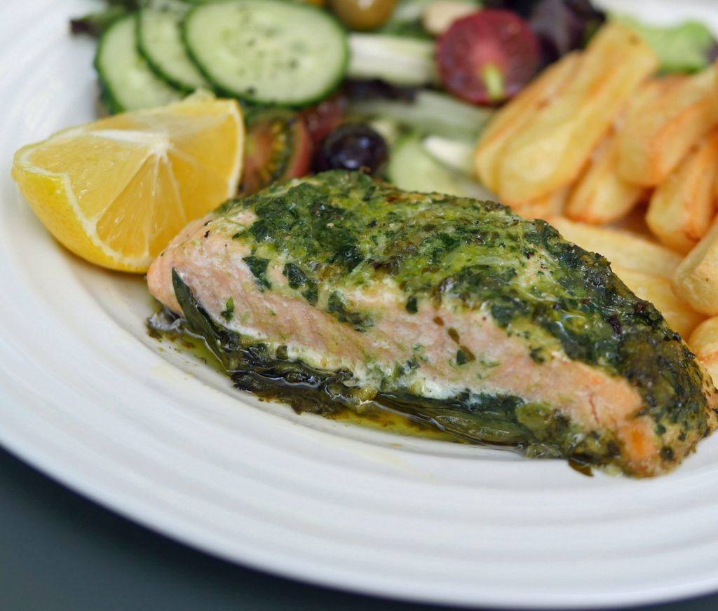 nut free pesto with salmon