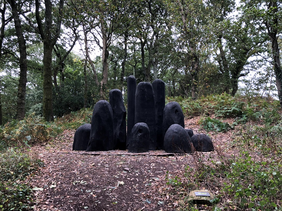 Black Mound by David Nash RA Tremenheere Sculpture Gardens near Penzance West Cornwall