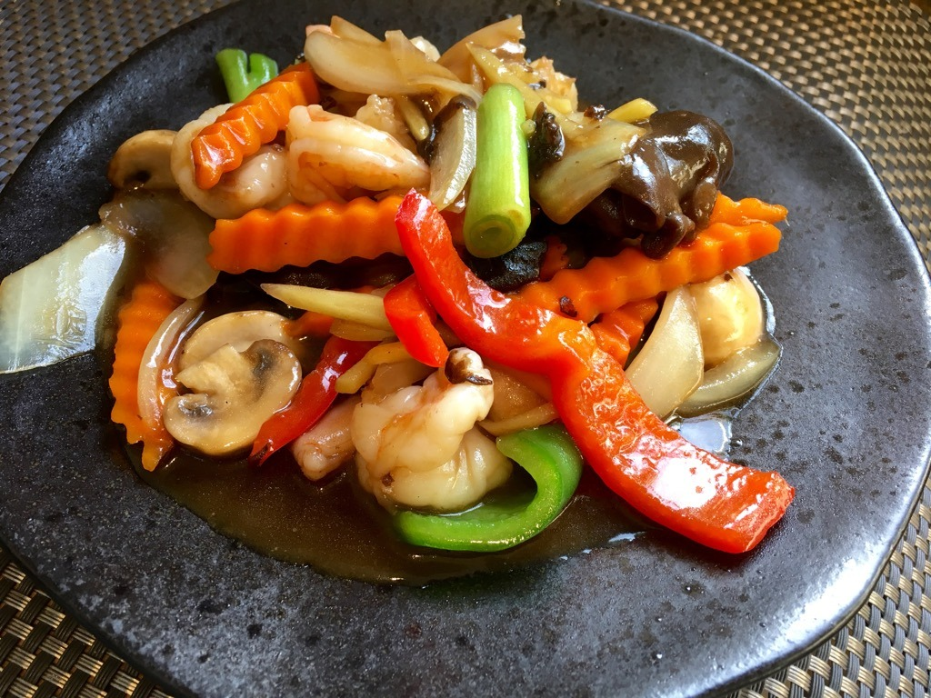 Giggling Squid prawns with ginger