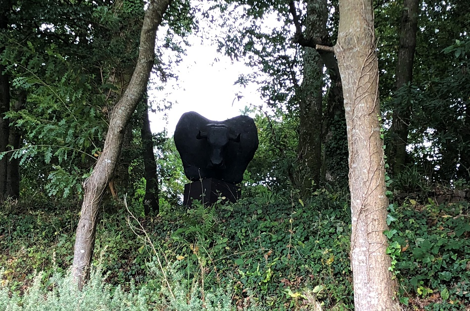 Minotaur by Tim Shaw Tremenheere Sculpture Gardens near Penzance West Cornwall