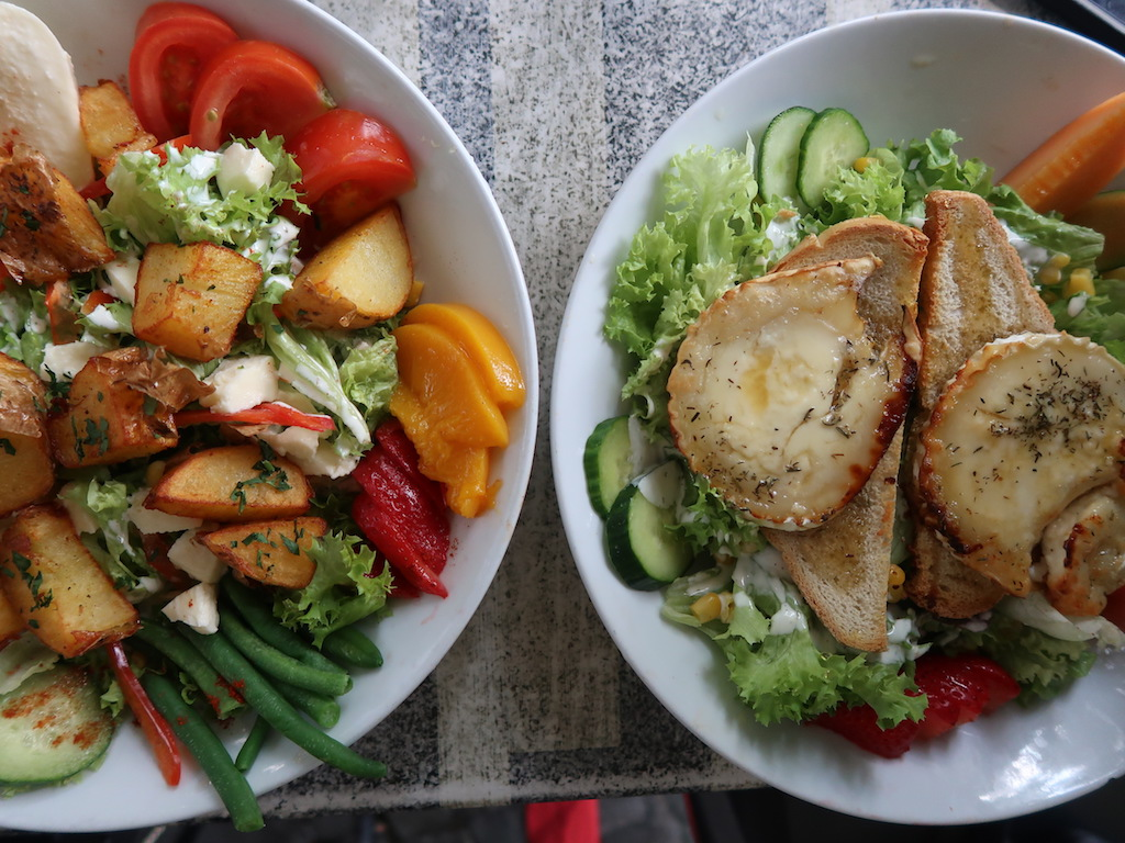 salad and meat dishes in Liege WAllonia