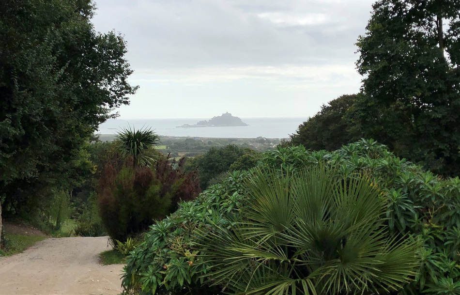 View towards St Michael's Mount from Tremenheere Sculpture Gardens Penzance West Cornwall