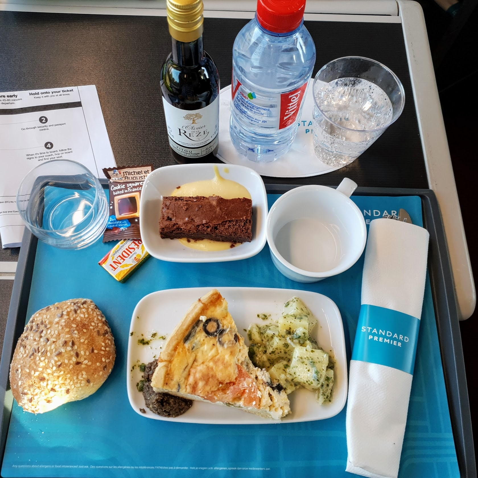 Eurostar Standard Premier dinner- travelling from London to Rotterdam by Eurostar