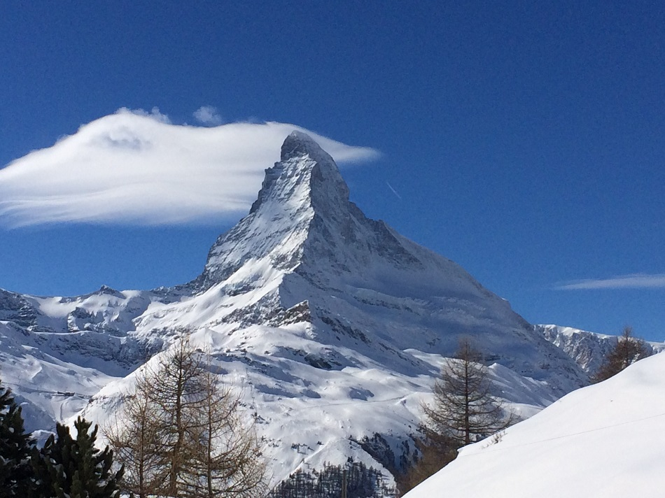 The Matterhorn Zermatt Switzerland on a perfect ski day - top ski resorts in Europe