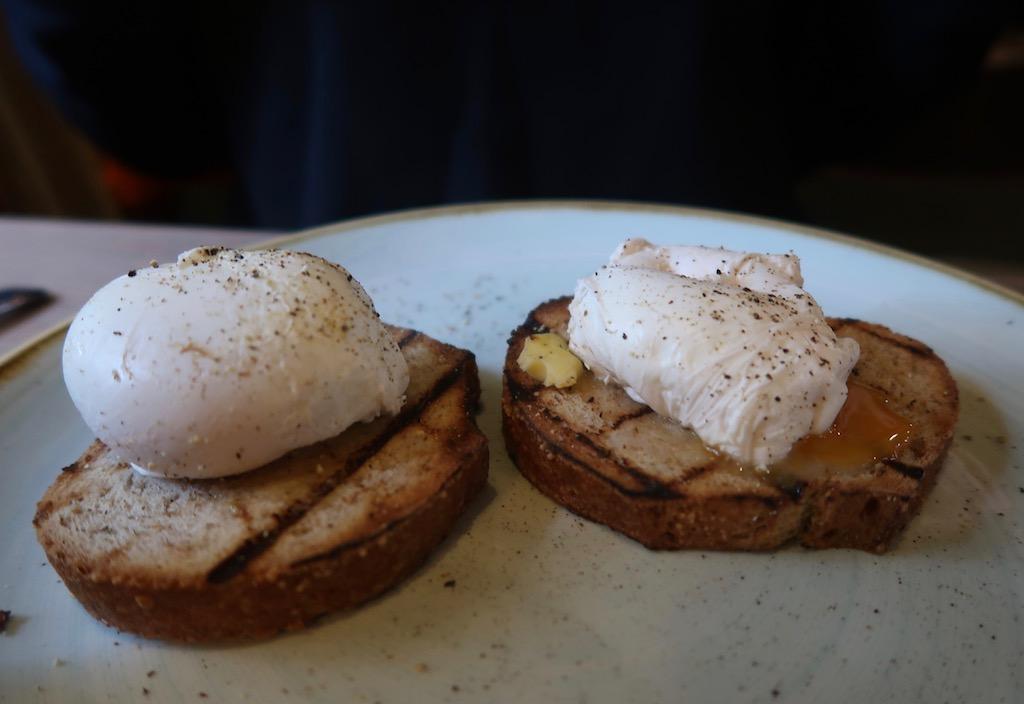 The Sun Inn Dedham, Essex hotel breakfast - poached eggs