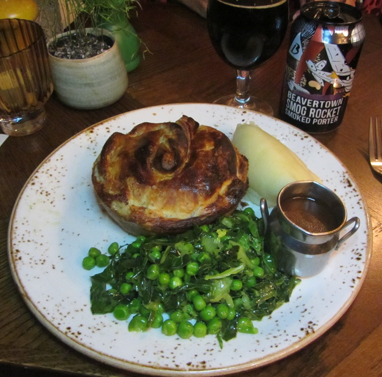 The Windmill Pub Young's and Beavertown pie pairing - chicken, bacon and leek pie with Smog Rocket