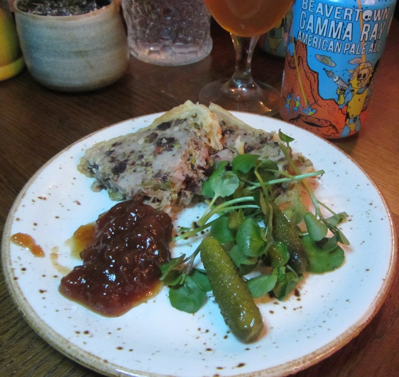Young's Beavertown and Pie evening - Pork terrine pie and Gamma Ray
