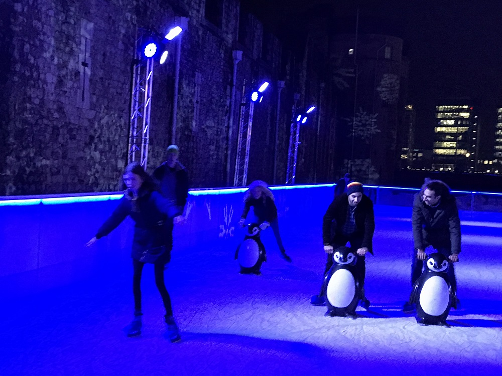 Ice Skating Tower of London - Helped by the Penguins