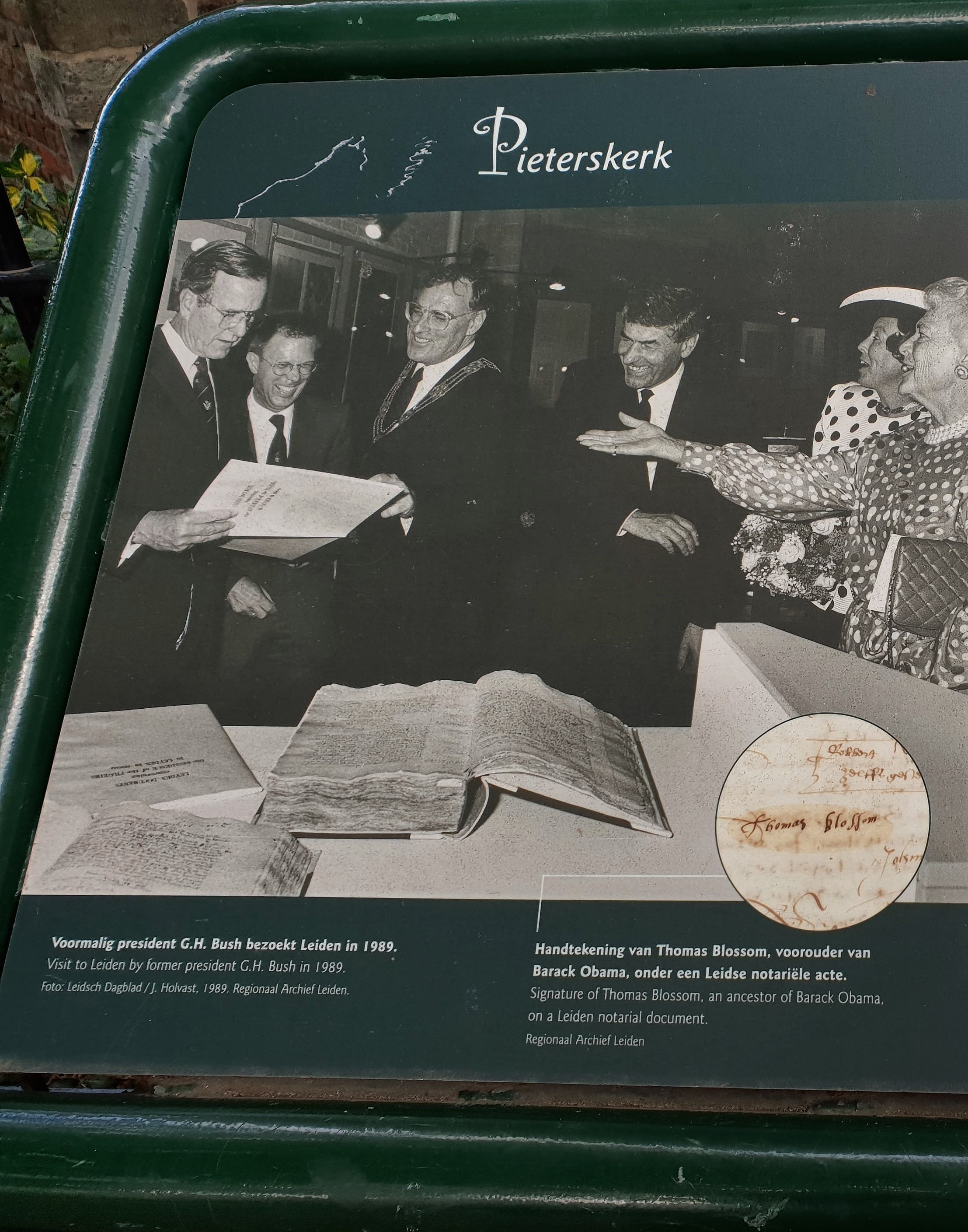 Leiden poster showing visit of President Bush