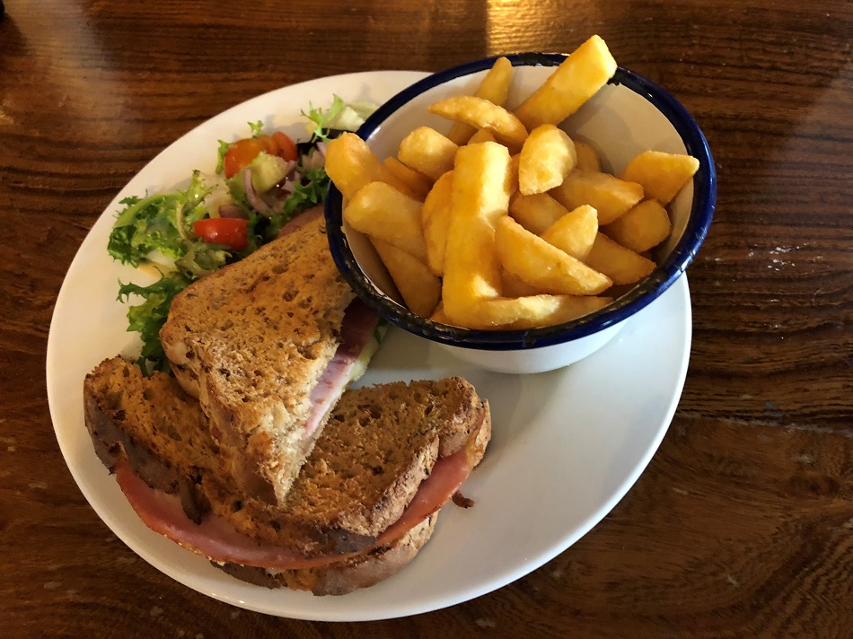 Ham and cheese toastie with chips The Royal Oak Winchester Hampshire