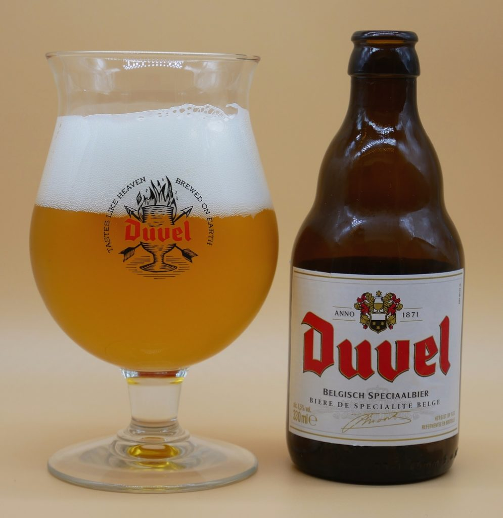 Duvel Beer and glass half full