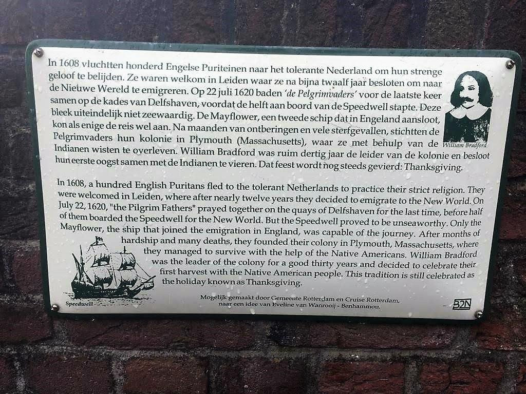 Pilgrim plaque, Delfshaven-min