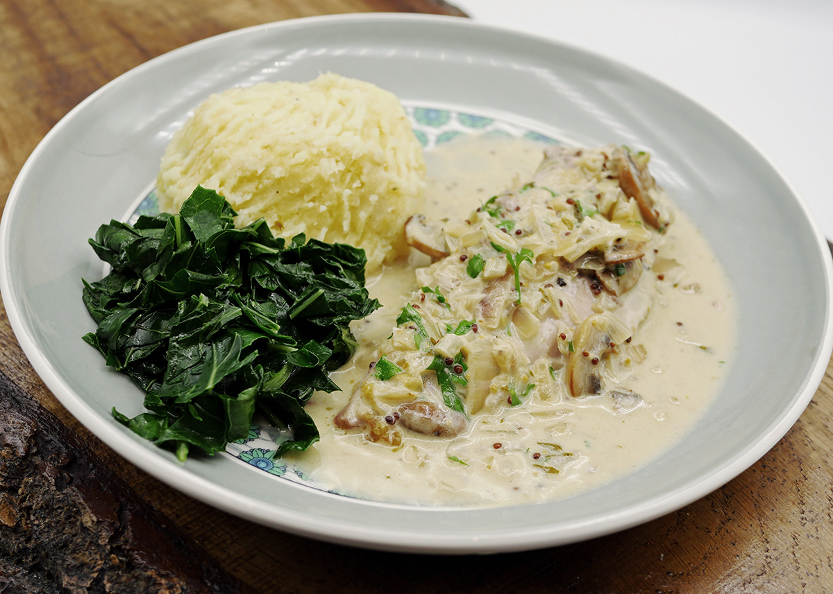 pheasant breast in white wine sauce