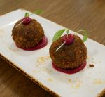 Chakra - vegan avocado balls with beetroot puree