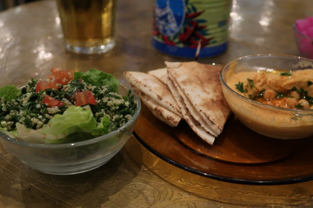Comptoir Libanais Mezze of Red Pepper Hummus and Quinoa Tabbouleh