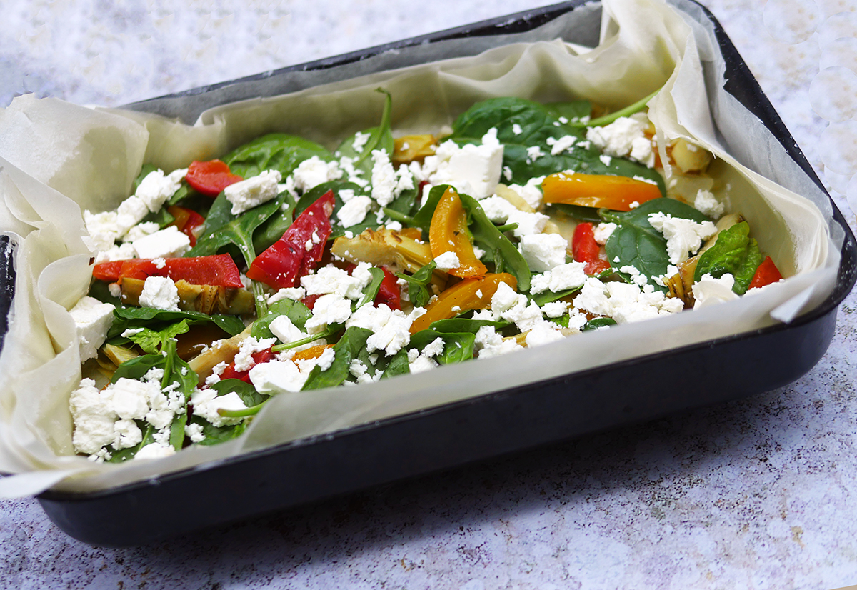 Mediterranean Filo Tart with Red Pepper and Feta