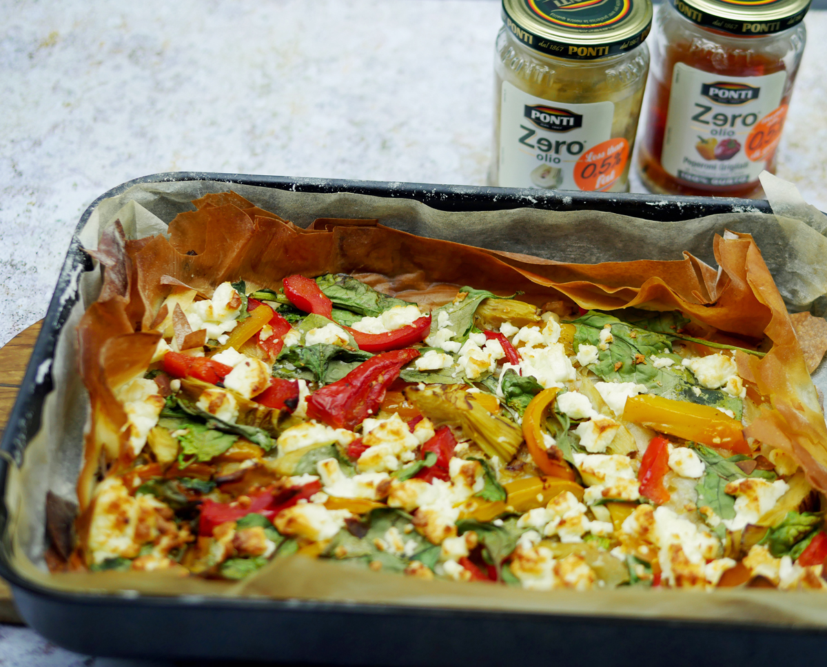 Mediterranean Tart with Red Pepper and Feta