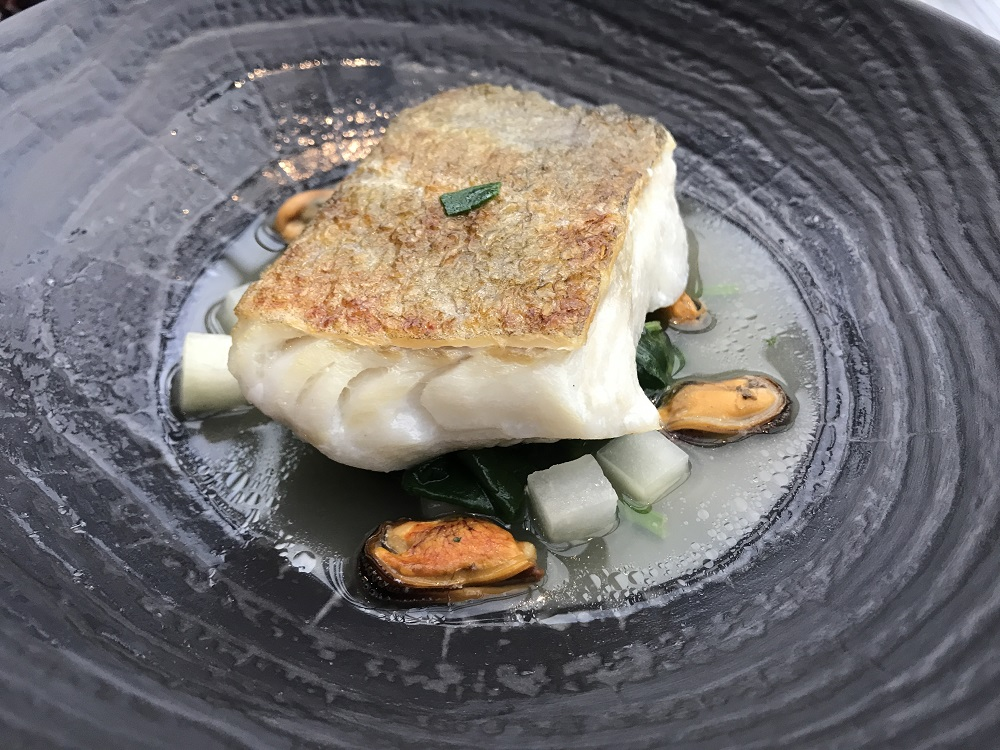 Searcys at the Gherkin Cod and mussels
