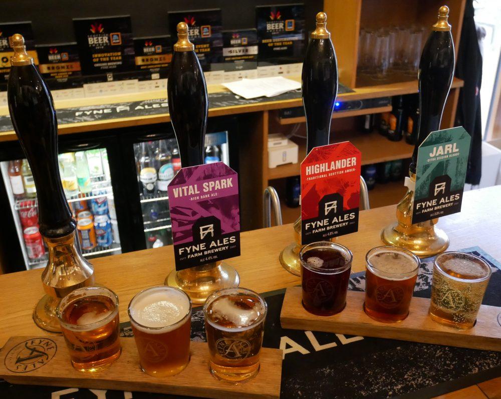 Stonefield Castle - Fyne Ales flight of beer
