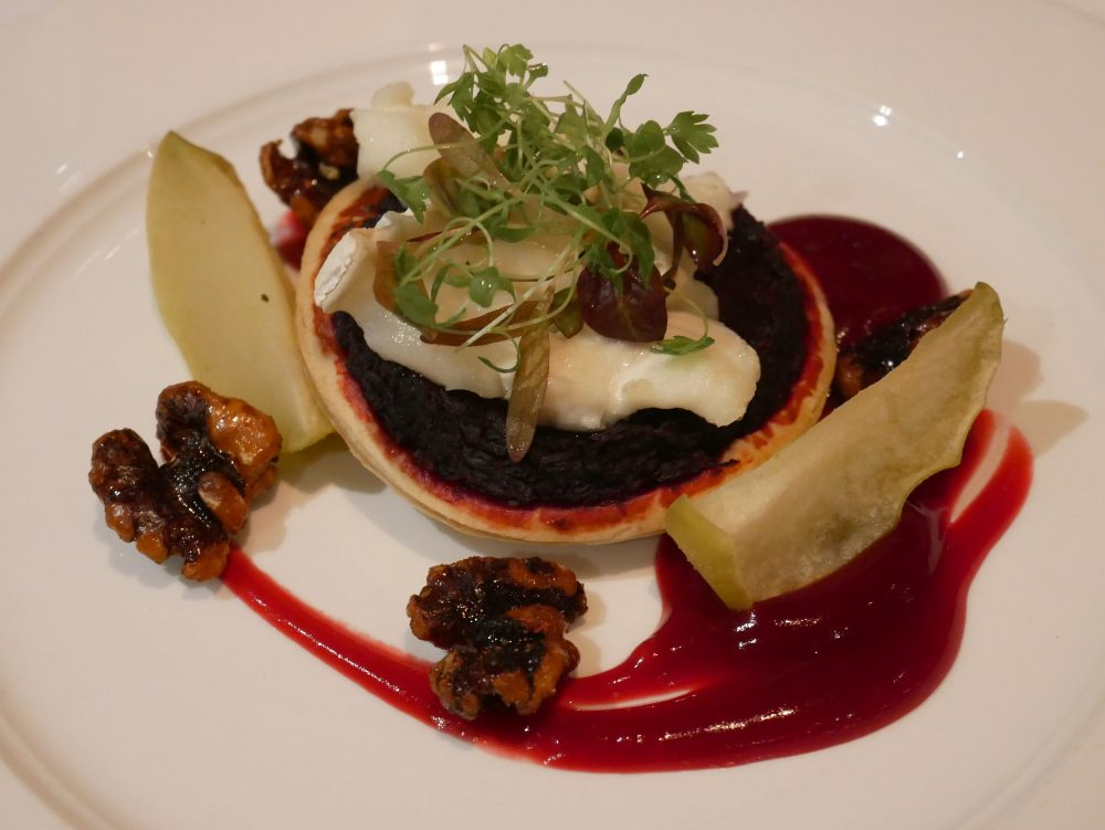 Stonefield Castle - beetroot and goat's cheese tart