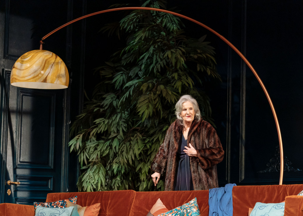 Susan Engel in Tartuffe by Molière in a new version by John Donnelly at The National Theatre. Image by Manuel Harlan