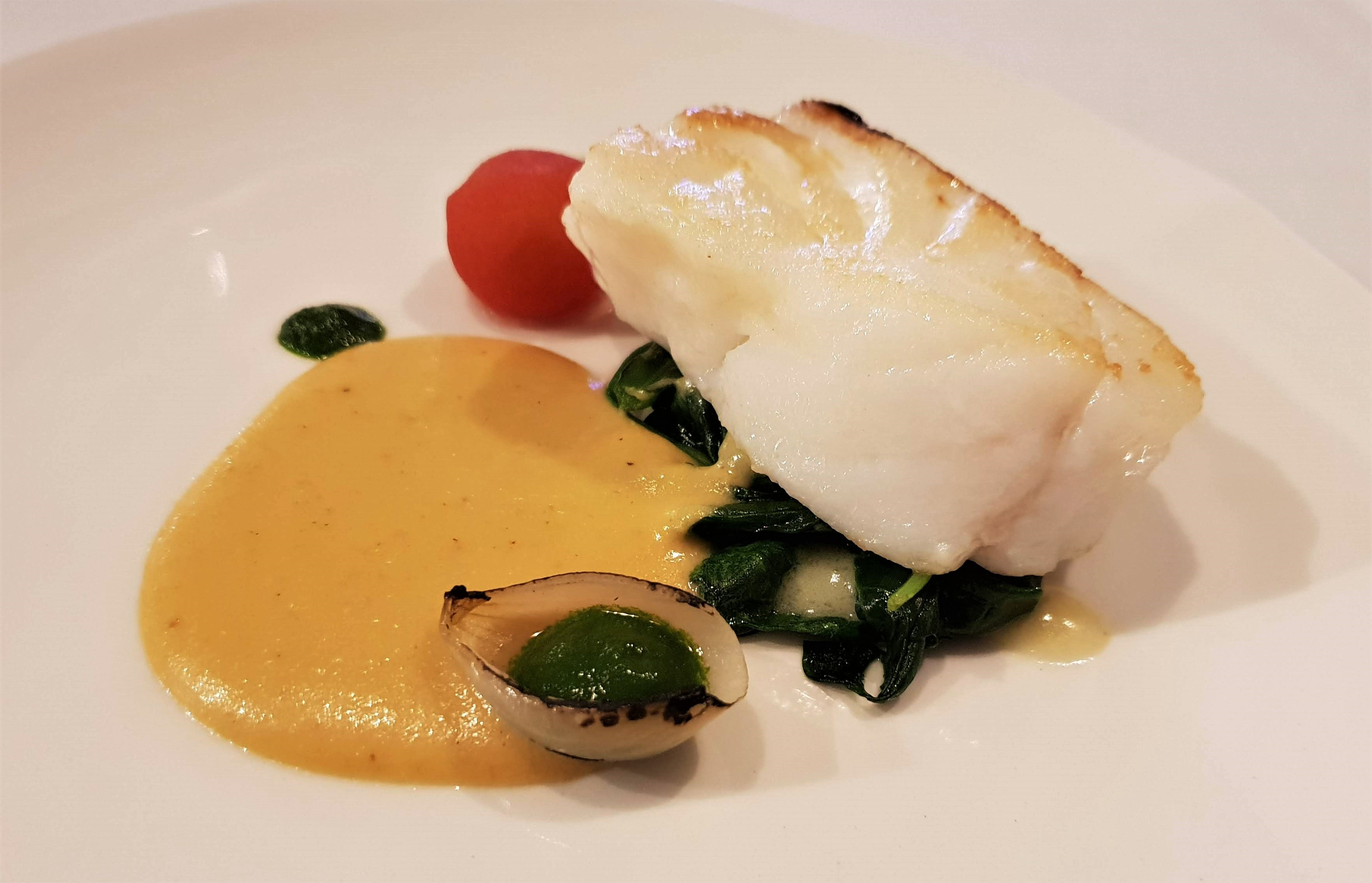 Myristica Cod and ackee veloute-