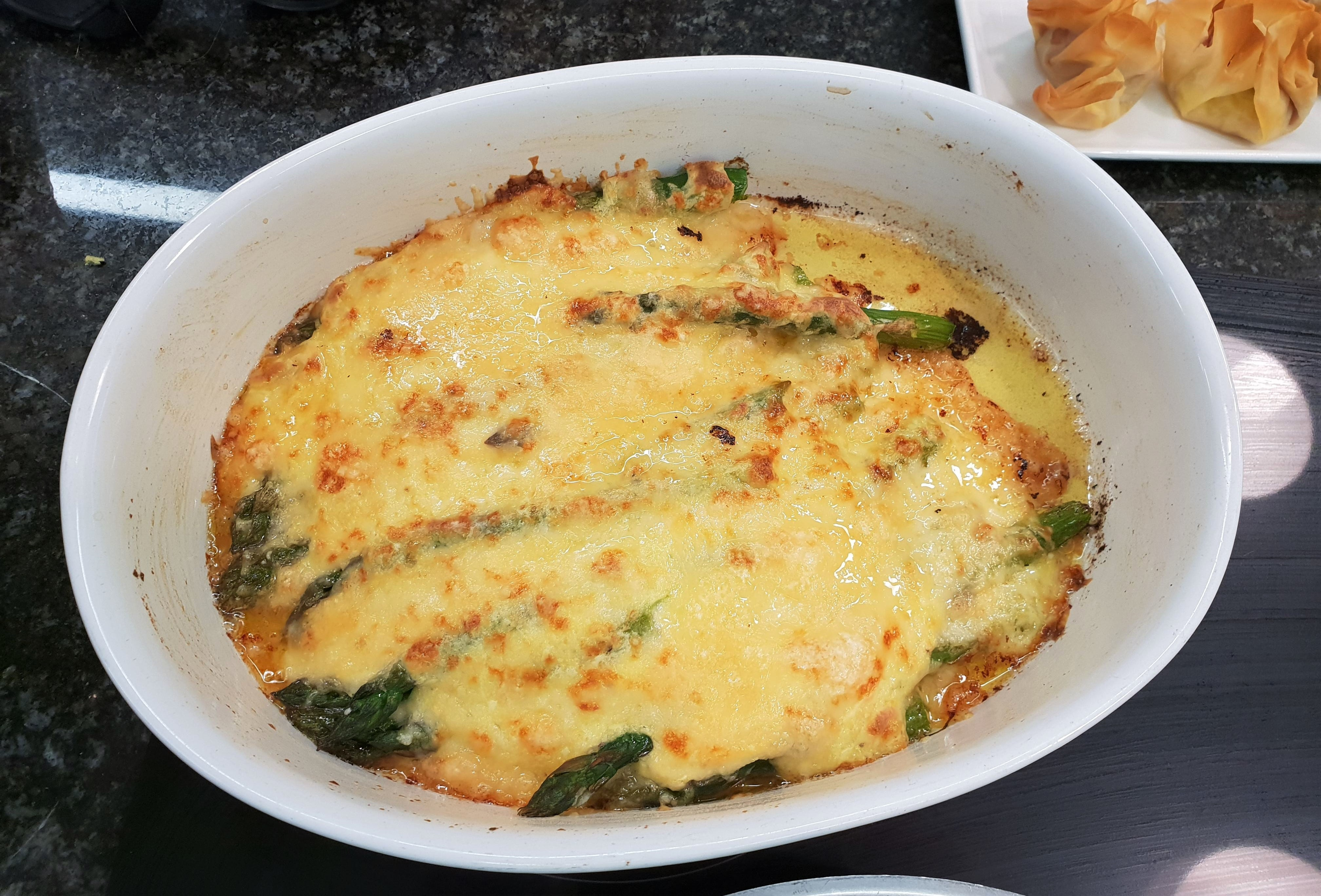 Comte cheese and asparagus bake
