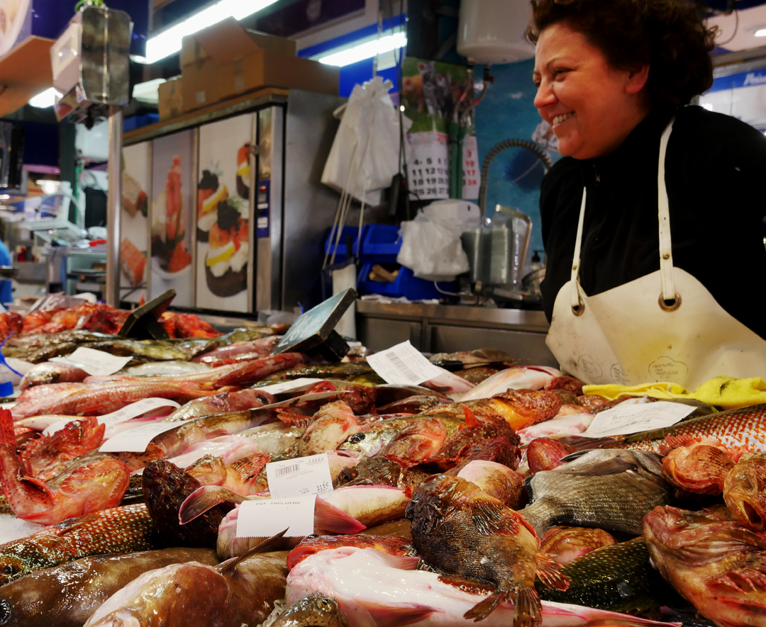 Fish Seller at Mercat de l'olivar Palma