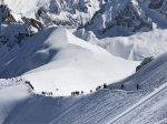 Ski tourers Aiguille du midi CHamonix Mont Blanc France