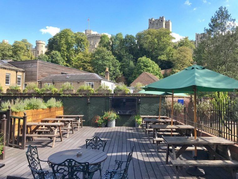 view of Windsor castle from the pub garden at Royal Windsor pub