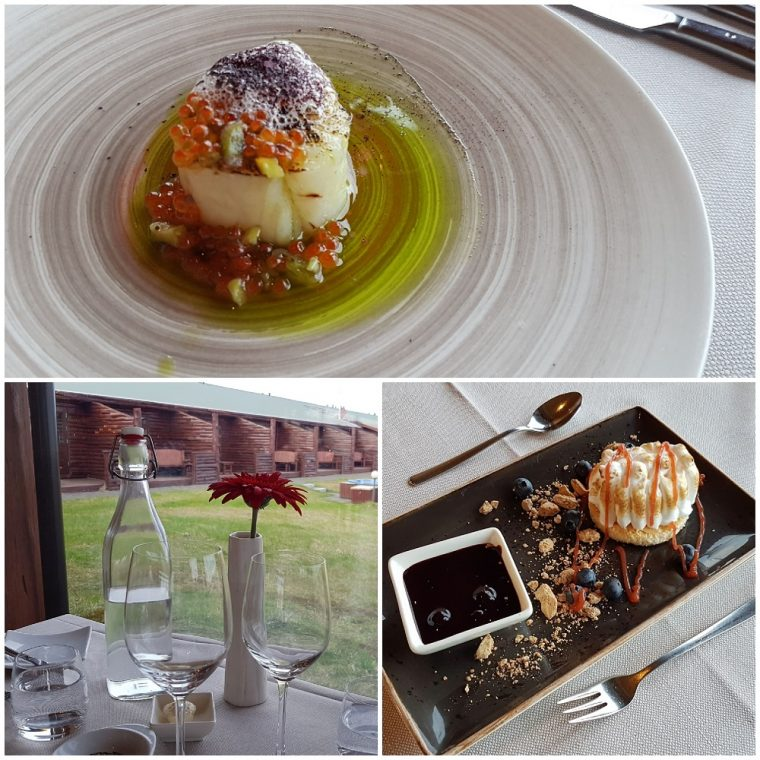three pictures of the restaurant and food at the ranga hotel