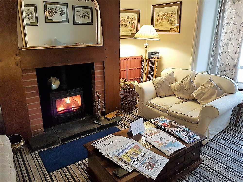 Cosy Living Room with log fire at the Hand Hotel, Llangollen