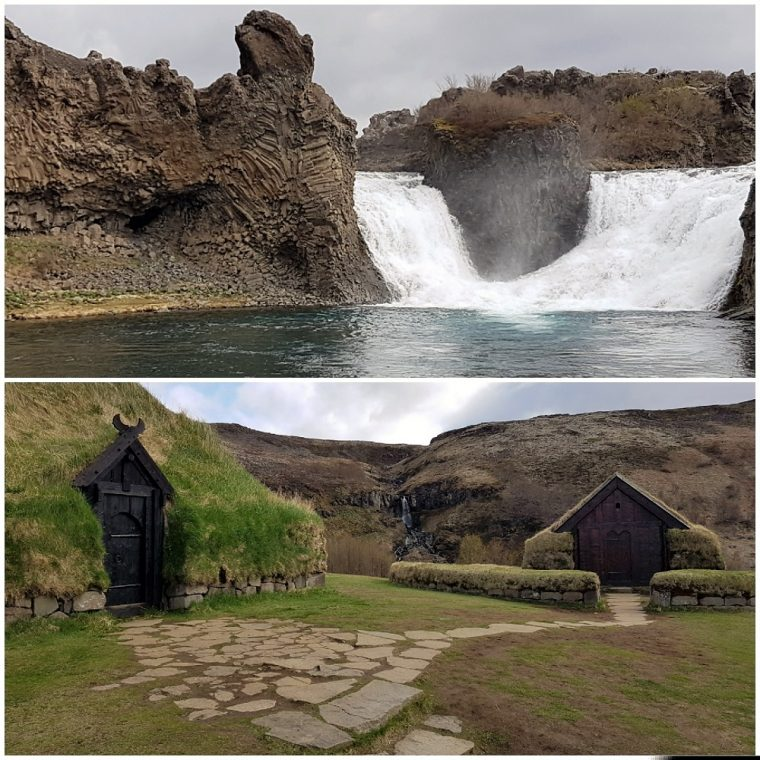 View of Thofafos waterfall and a reconstruction of a farm