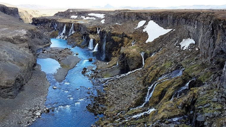 waterfall in Iceland's highlands