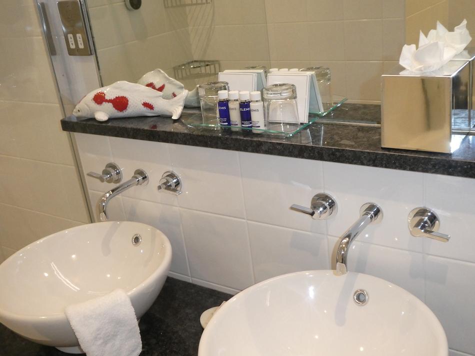 Bathroom with Elemis toiletries Headland Hotel
