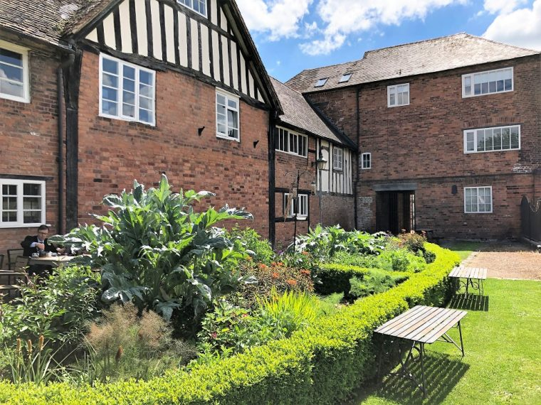 view of cafe in the garden of the Commandery Worcester - What to do in Worcestershire