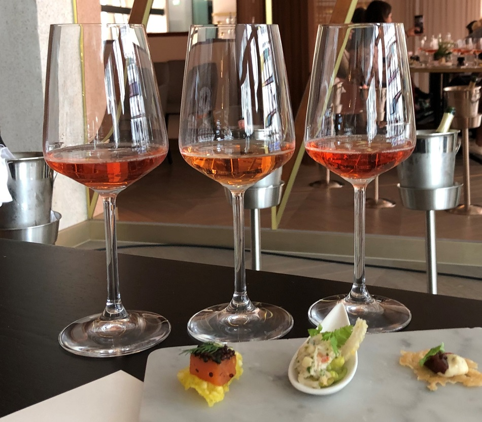 Going from the left Ruinart Rosé, Castlenau Cuvee Brut Rosé and Rene Jolly Rosé champagnes