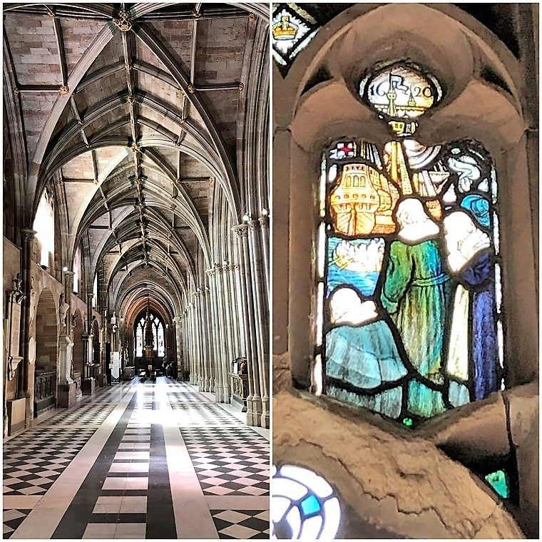 worcester Cathedral view of the cloisters with close up of stained glass panel featuring Mayflower