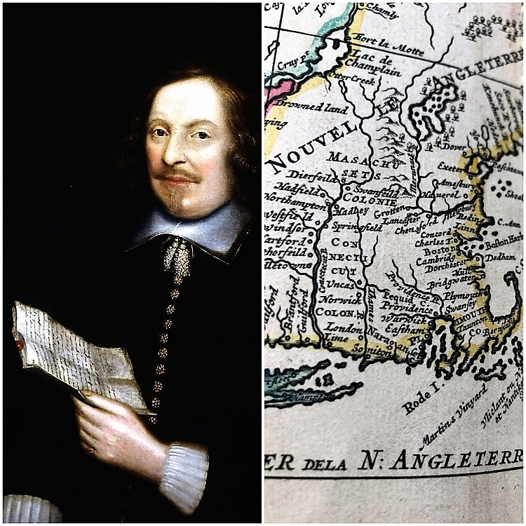 Portrait of Edward Winslow and map of new world colonies from 17th century