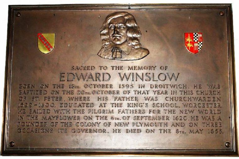 Plaque commemorating Edward Winslow
