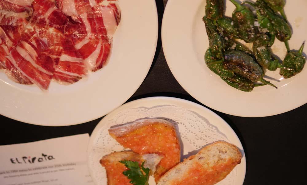 Serrano Ham, Padron Peppers and Tomato Bread at El Pirata Tapas Bar, Mayfair