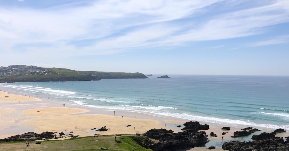 Looking down at Fistral Beach from the Headland