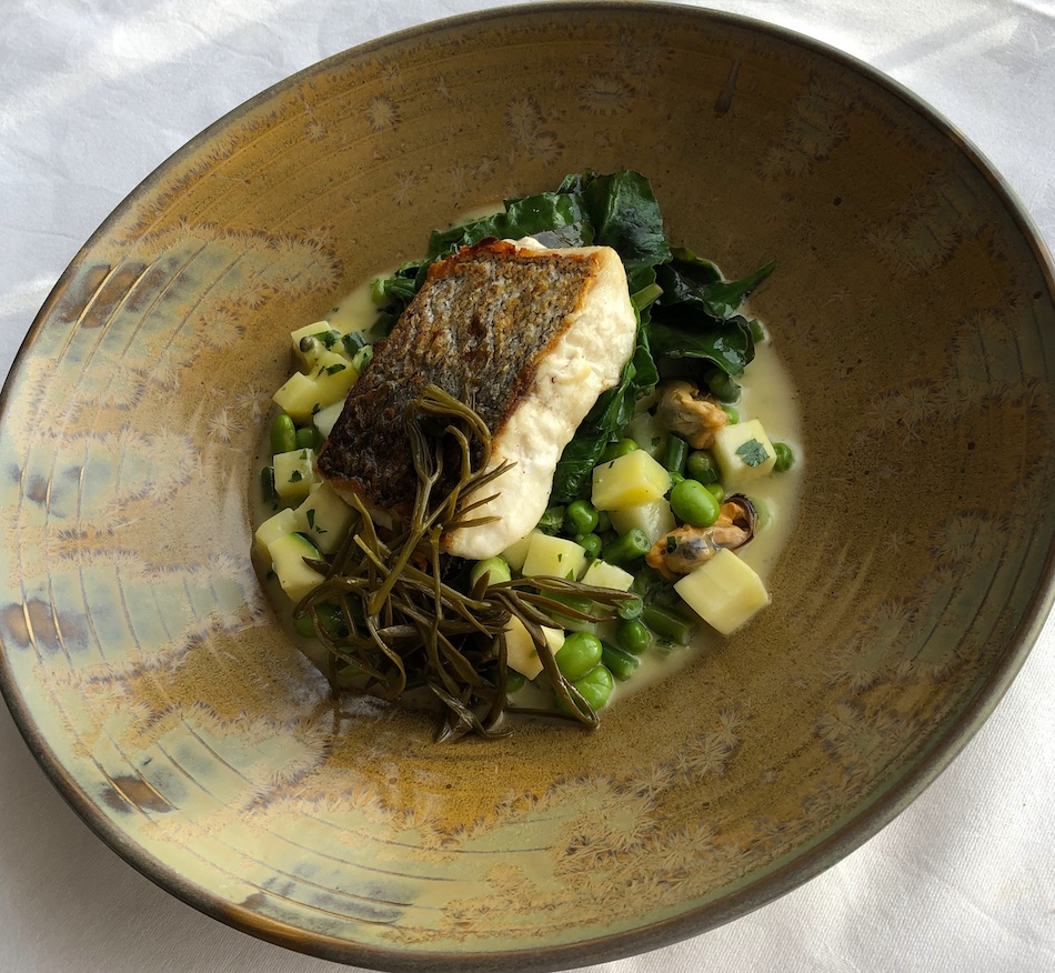 pan-fried hake verdure with headland samphire and mussel butter at the Headland