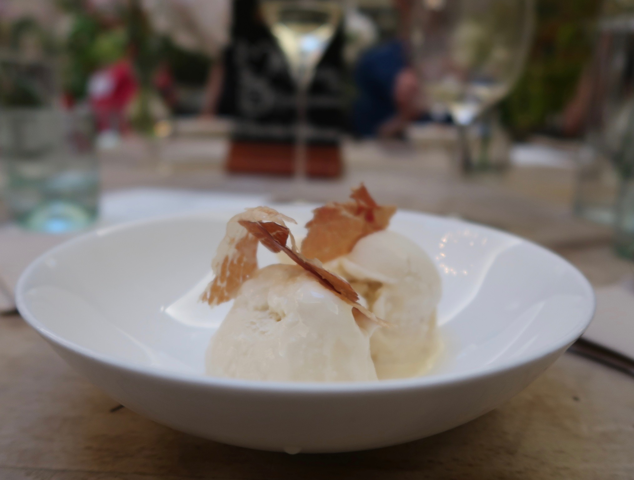 dessert of Prosciutto di Parma and maple ripple ice cream at Petersham Nurseries, Covent Garden